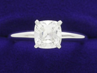 Cushion Cut Diamond Ring: 1.11 carat with 1.02 ratio Solitaire Mounting