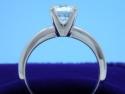 Cushion Cut Diamond in Solitaire-Style Mounting