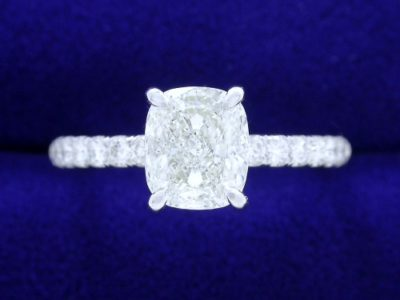 Cushion Cut Diamond Ring: 1.21 carat with 1.17 ratio and 0.30 tcw Pave mounting