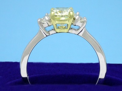 1.22-carat cushion modified brilliant cut diamond graded Fancy Yellow color