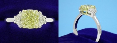 Cushion Cut Diamond Ring: 1.22 carat with 1.15 ratio Fancy Yellow in 0.34 tcw Crescent Moon Diamond custom mounting