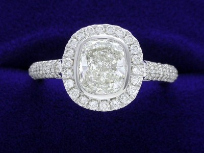 Cushion Cut Diamond Ring: 1.23 carat with 1.17 ratio and 0.51 tcw Pave mounting