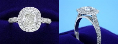 Cushion Cut Diamond Ring: 1.23 carat with 1.17 ratio in 0.51 tcw designer pave mounting