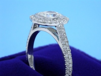 Cushion Cut Diamond Ring with Pave Halo