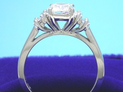 Cushion Cut Diamond Ring: 1.24 carat with 1.16 ratio and 0.49 tcw Baguette Diamonds