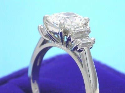 Cushion Cut and Baguette Diamond Ring