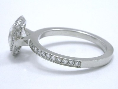 Cushion Cut Bez Ambar Designer Pave Diamond Mounting