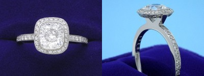 Cushion Cut Diamond Ring: 1.25 carat with 1.06 ratio in 0.35 tcw custom pave halo mounting