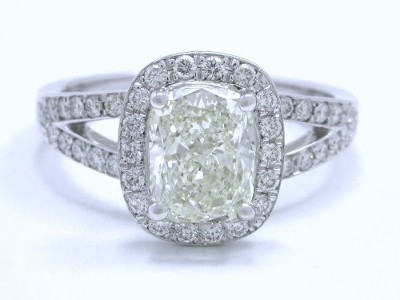 Cushion Cut Diamond Ring with Pave Split Shank and Halo