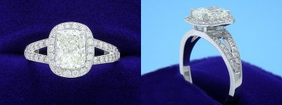 Cushion Cut Diamond Ring: 1.26 carat with 1.30 ratio in custom split-shank pave halo mounting
