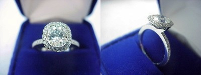 Cushion Cut Diamond Ring: 1.28 carat with 1.14 ratio in 0.48 tcw Bez Ambar designer pave mounting