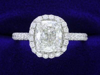 Cushion Cut Diamond Ring: 1.28 carat with 1.18 ratio in 0.33 tcw Pave Halo and Shank Mounting