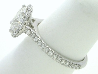 mounting with 0.33 total carat weight of French pave-set round brilliant cut diamonds