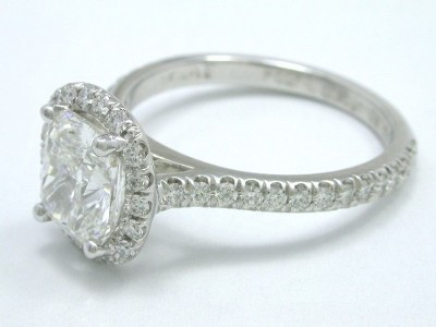 Diamond engagement ring with 1.28 carat cushion modified brilliant diamond