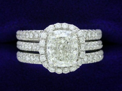 Cushion Shaped Diamond Engagement Ring with Matching Bands