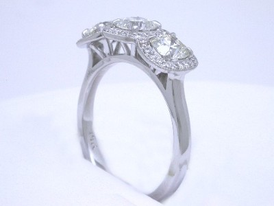 Three-Stone Cushion Cut Diamond Ring