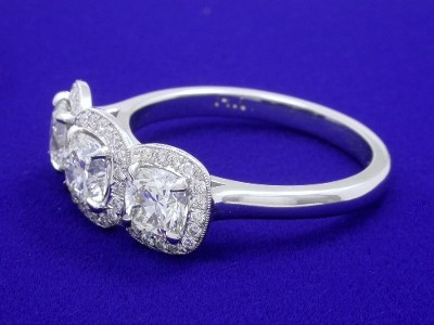 Cushion Cut Diamond Ring With Pave Halos