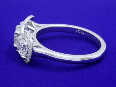 Cushion Cut Three Stone Diamond Ring