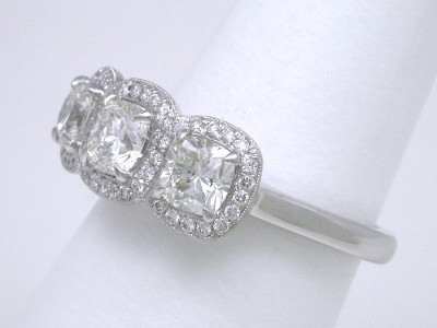 1.33 tcw 3-stone Cushion Cut Diamond Ring