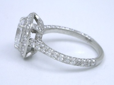 Cushion Diamond Ring with Pave Halo and Shank