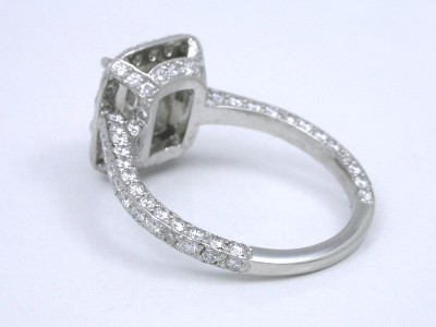 Cushion Diamond Ring with Pave On Three Sides of  Shank