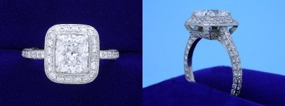 Cushion Cut Diamond Ring: 1.39 carat with 1.17 ratio in 1.22 tcw custom pave mounting