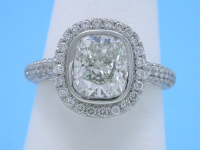 Cushion Diamond Ring with Pave Halo and Pave Shank