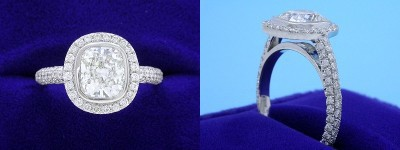 Cushion Cut Diamond Ring: 1.40 carat with 1.17 ratio in 0.66 tcw custom pave mounting