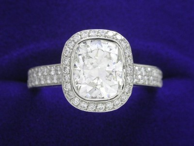Cushion Cut Diamond Ring: 1.49 carat with 1.20 ratio in Bez Ambar designer mounting