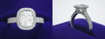 Cushion Cut Diamond Ring: 1.49 carat with 1.20 ratio in 0.57 tcw Bez Ambar designer pave mounting