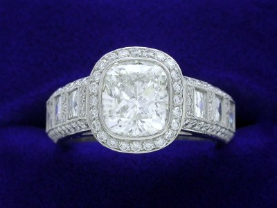 Cushion Cut Diamond Ring: 1.50 carat with 1.11 ratio and 0.70 Blaze-0.63 Pave