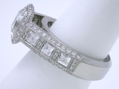 Cushion, Blaze and Pave Diamond Ring