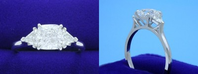 Cushion Cut Diamond Ring: 1.50 carat with 1.02 ratio in 0.41 tcw Trillion custom mounting