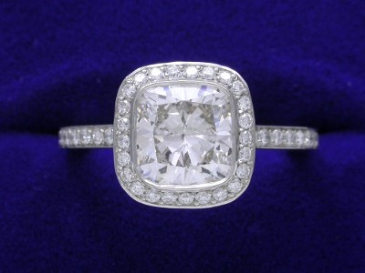 Cushion Cut Diamond Ring: 1.51 carat with 1.03 ratio in 0.37 tcw Bez Ambar mounting