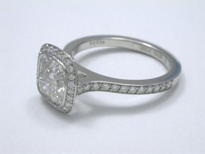 Bez Ambar Cushion Cut and Pave Set Diamond Ring