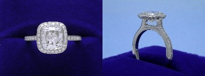 Cushion Cut Diamond Ring: 1.51 carat with 1.03 ratio in 0.37 tcw Bez Ambar designer pave mounting