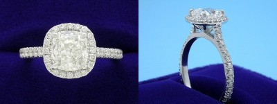 Cushion Cut Diamond Ring: 1.52 carat with 1.06 ratio in 0.43 tcw custom pave mounting