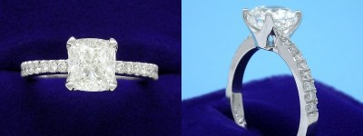 Cushion Cut Diamond Ring: 1.52 carat with 1.12 carat in 0.17 tcw custom pave mounting