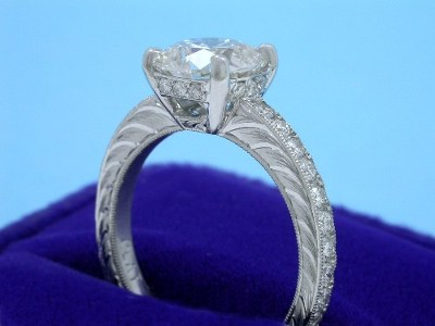 Cushion Cut Diamond Ring: 1.54 carat with 1.00 ratio and 0.37 tcw Pave Mounting