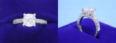 Cushion Cut Diamond Ring: 1.54 carat with 1.03 ratio in 0.20 tcw custom pave mounting