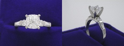 Cushion Cut Diamond Ring: 1.54 carat with 1.03 ratio in tapered baguette and round pave custom mounting