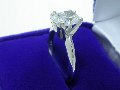 Cushion Cut Diamond Ring: 1.61 carat in Double Prong Solitaire style mounting
