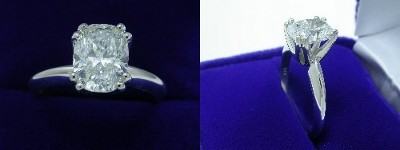 Cushion Cut Diamond Ring: 1.61 carat with 1.30 ratio in custom double-prong Solitaire style mounting
