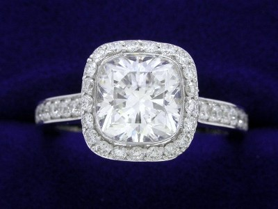 Cushion Cut Diamond Ring: 1.69 carat with 1.02 ratio in 0.72 tcw Pave Bez Ambar Mounting