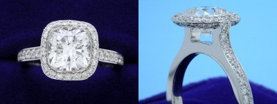 Cushion Cut Diamond Ring: 1.69 carat with 1.01 ratio in 0.72 tcw Bez Ambar designer pave mounting
