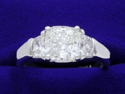 Cushion Cut Diamond Ring: 1.70 carat with 1.02 ratio in 0.65 tcw Cushion Diamond Custom Mounting