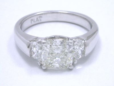Cushion 3-Stone Diamond Ring in Custom Platinum Mounting