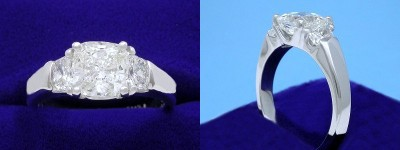 Cushion Cut Diamond Ring: 1.70 carat with 1.02 ratio in 0.65 tcw Cushion Diamond custom three stone mounting