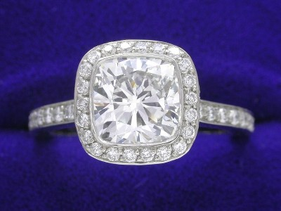 Cushion Cut Diamond Ring: 1.71 carat with 1.01 ratio in Bez Ambar pave mounting