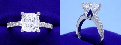 Cushion Cut Diamond Ring: 1.71 carat with 1.04 ratio in 0.11 tcw custom pave mounting